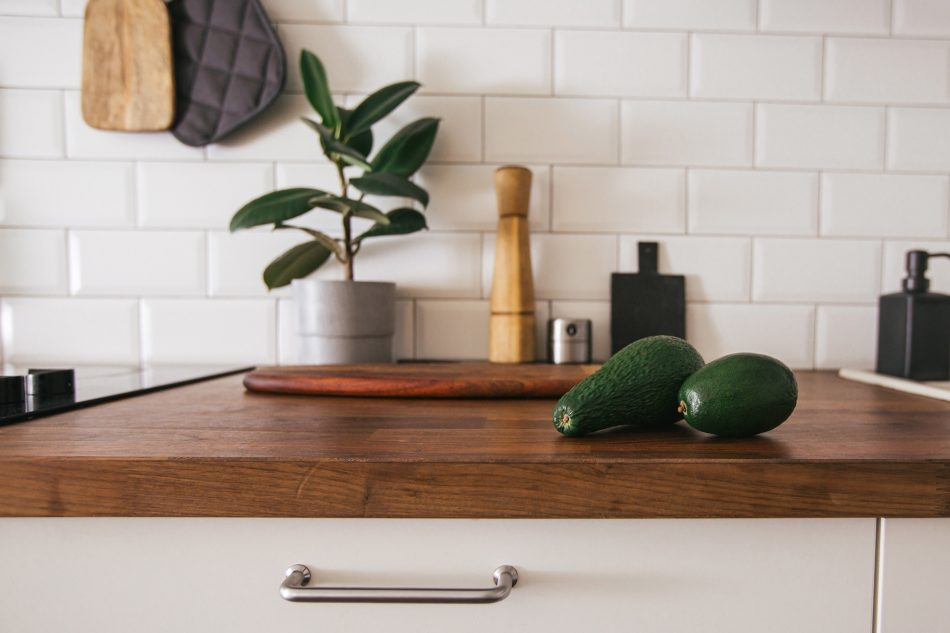 natural wood finishes on countertops